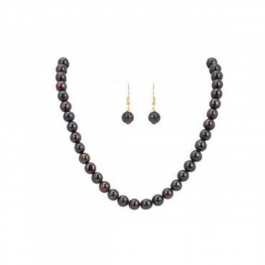 Durga Fashion Black Color Pearl Necklace Set