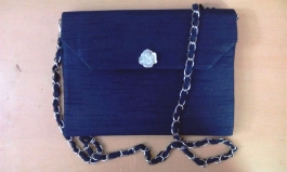 Navy Blue Raw Silk Sling Bag