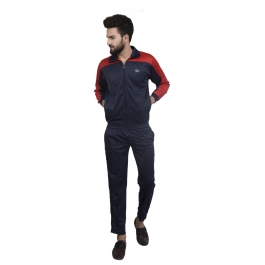 Navy Blue Polyester Tracksuit Single For Mens