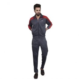 Grey Polyester Tracksuit Single For Mens