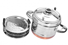Meera Steamer Pot With Lid & Hadle (combi Pack 9 Plates) - Copper Bottom