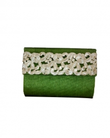 Nature Green Raw Silk Clutch
