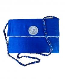 Royal Blue Raw Silk Sling Bag