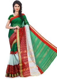 Women's Ethnic Wear Poly Cotton Green Colour Saree With Blouse Piece
