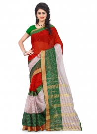 Sundram Fab  Poly Cotton Red Colour Saree With Blouse Piece
