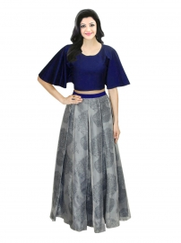 Samarpan Fashion Grey Printed Designer Lehenga
