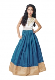 Kids Kitty Sky Blue Lehenga