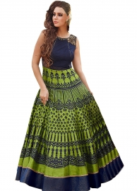 Blue And Green Banglori Self Printed Semi-stitched Gown