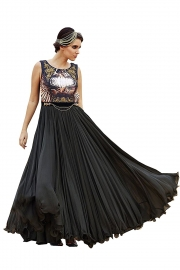 All New Black Georgette Printed Semi-stiched Gown