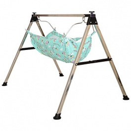 Stainless Steel Ghodiyu Style Folding (baby Cradle) With Cotton Hammock