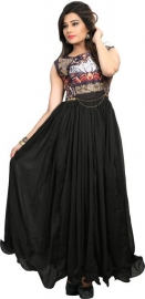 Chiffon Printed Gown & Waistcoat Material  (un-stitched)