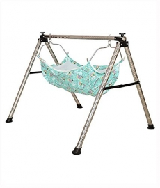 Ghodiya Indian Style Semi - Folding Stainless Steel Ghodiyu (baby Cradle) With Hammock