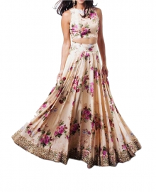 Womens Printed Cream Lehenga