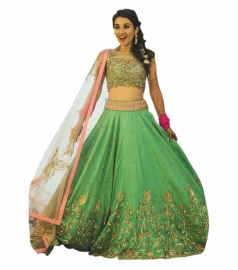 Womens Golden Green Lehenga