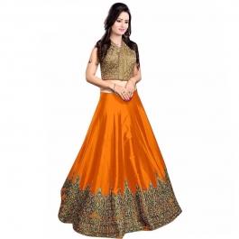 Womens Meenaxi Orange Lehenga