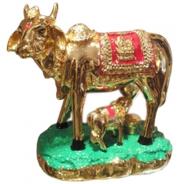 Kamdhenu Cow With Calf (24k Gold Plated)