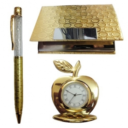 24k Gold Plated (crystal Pen, Business Card Holder & Table Clock)