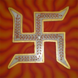 Marble Swastik Mounted On Wooden Board-big