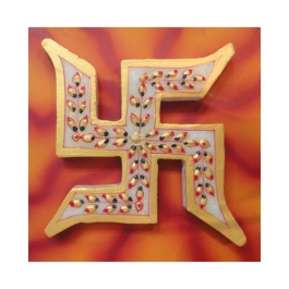 Marble Swastik Mounted On Wooden Board-small