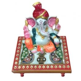 Pagdi Ganesha On Marble Chowki