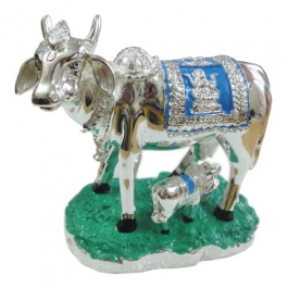 Kamdhenu Cow With Calf (silver Plated)