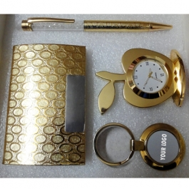 All 24k Gold Plated Crystal Pen, Table Clock, Visiting Card Holder And Key Holder - Combo Corporate Set-i