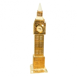 Gold Plated Crystal Big Ben Clock Tower London- 19cms