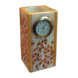 Pen Stand With Watch (marble)