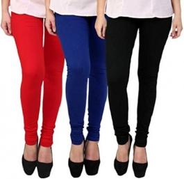 I Fashion Girls Cotton Leggings Red Blue Black - Pack Of 3