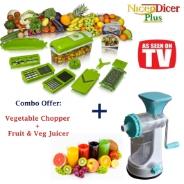 High Quality Vegetable Cutter Chopper 11 Pcs Fruit Juicer Combo Of 2