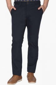 Mens Regular Fit 5 Pocket Solid Trousers