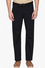Mens Regular Fit 5 Pocket Solid Trousers
