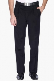 Mens Pleated Front Slim Fit Solid Formal Trousers