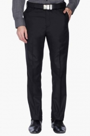 Mens Tapered Fit Solid Formal Trousers