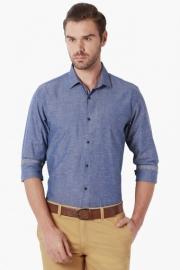 Peter England Mens Slim Fit Slub Shirt