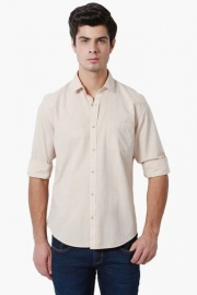 Peter England Mens Slim Fit Slub Shirt
