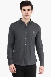 U S Polo Mens Slim Fit Slub Shirt