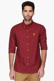 U S Polo Mens Button Down Collar Solid Shirt