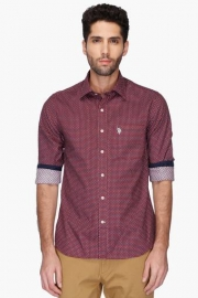 U S Polo Mens Regular Collar Printed Shirt