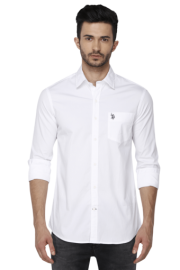 U S Polo Mens Full Sleeves Slim Fit Casual Solid Shirt