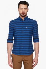 U S Polo Mens Slim Fit Button Down Collar Stripe Shirt