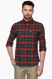 U S Polo Mens Slim Fit Button Down Collar Check Shirt