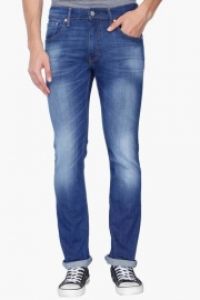 Mens Skinny Straight Fit Heavy Wash Jeans