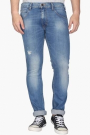 Mens Skinny Fit 5 Pocket Mild Wash Jeans