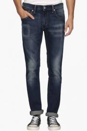 Mens 5 Pocket Skinny Straight Fit Heavy Wash Jeans