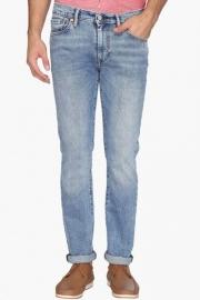 Mens Slim Fit 5 Pocket Stone Wash Jeans
