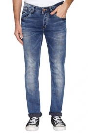 Mens 5 Pocket Heavy Wash Whiskered Jeans