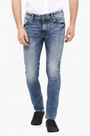 Mens Skinny Fit 5 Pocket Stone Wash Jeans