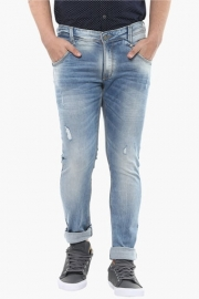 Mens Skinny Fit 5 Pocket Heavy Wash Jeans