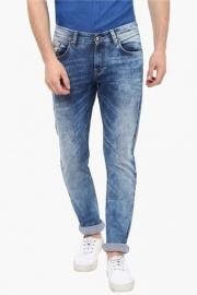 Mens Skinny Fit 5 Pocket Stone Wash Jeans